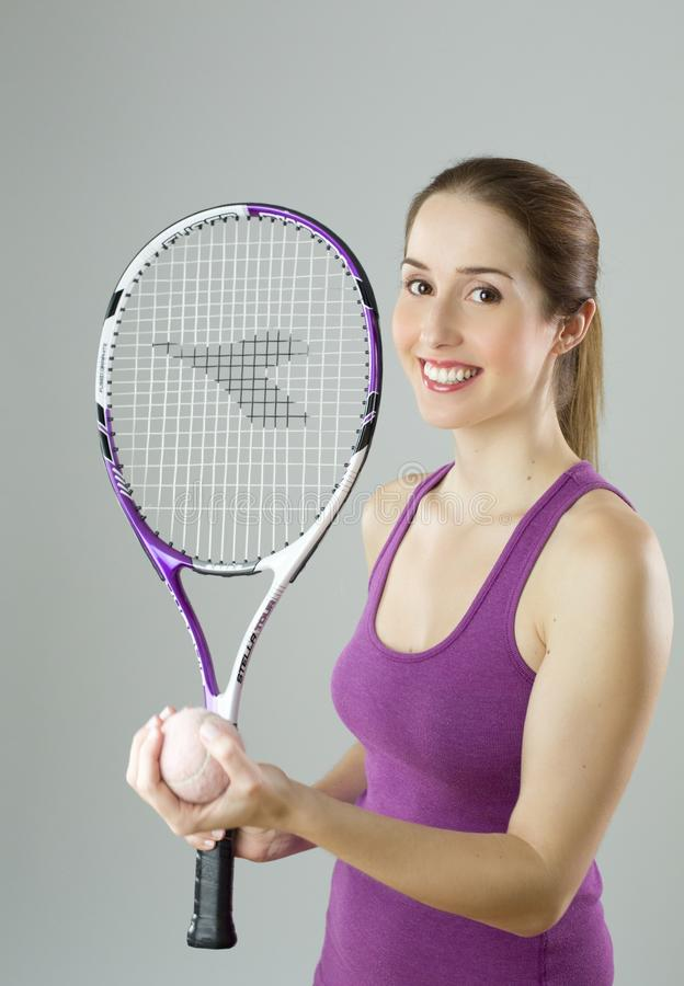Woman Wearing Purple Tank Top Holding Purple And White Racket And Lawn Tennis Ball Free Public Domain Cc0 Image