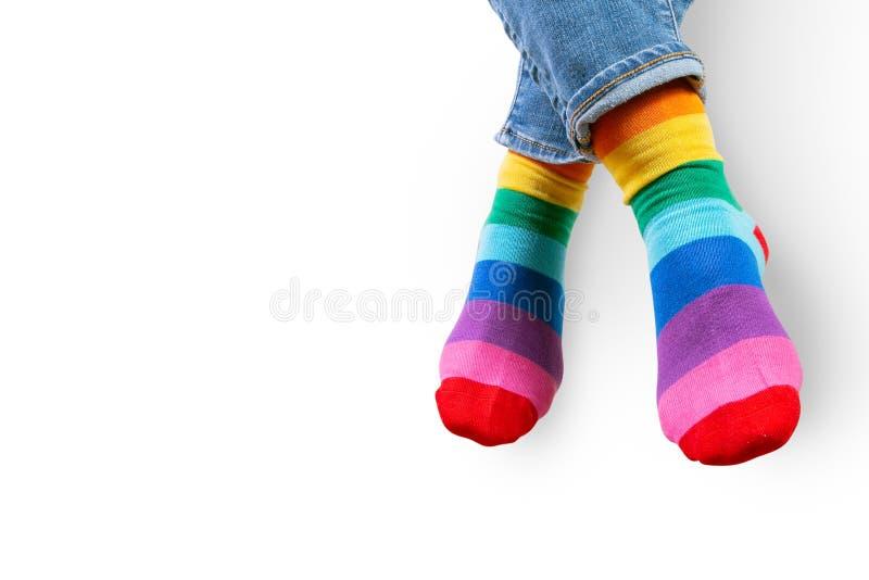 Woman wearing rainbow socks - LGBT pride symbol stock photos