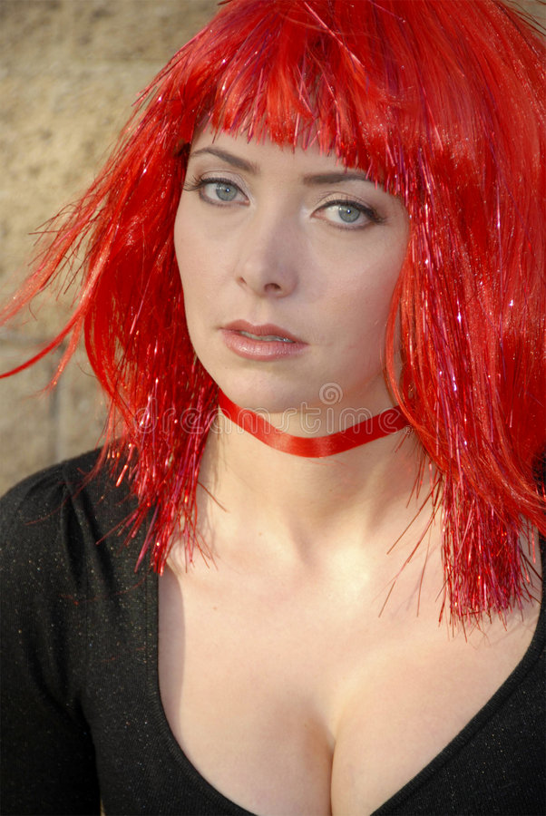 Download Woman Wearing Red Glitter Wig Stock Photo - Image: 2007492