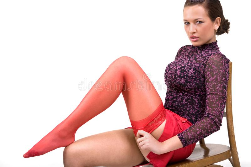 Woman wearing red sockings royalty free stock photo