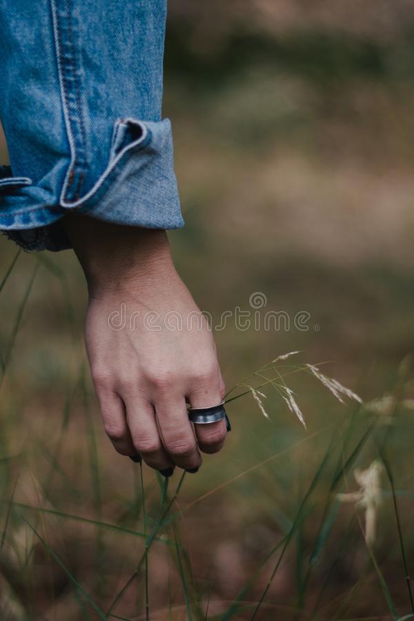 Woman wearing a ring. And holding flowers royalty free stock photography