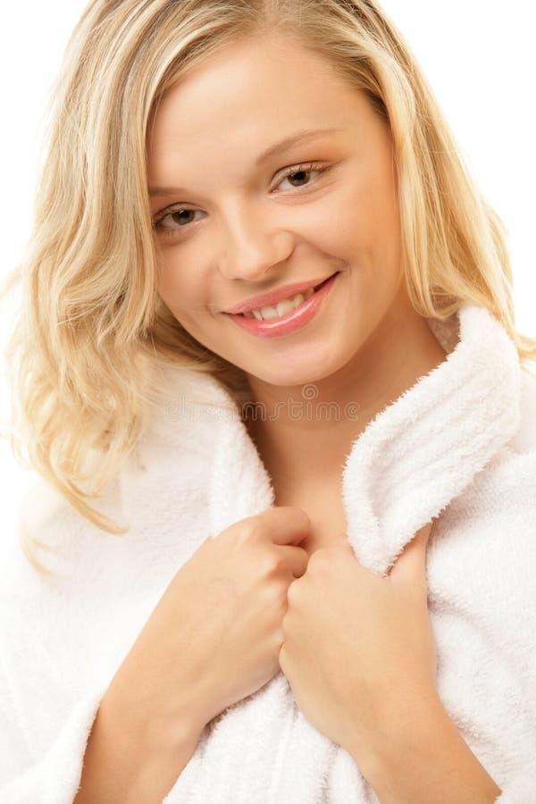 Woman wearing robe stock photo