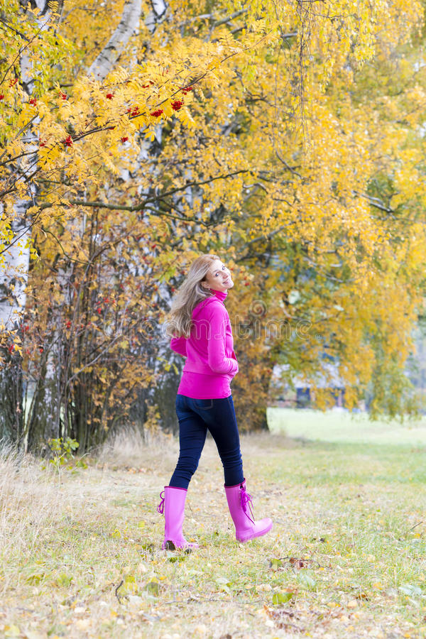 Woman wearing rubber boots