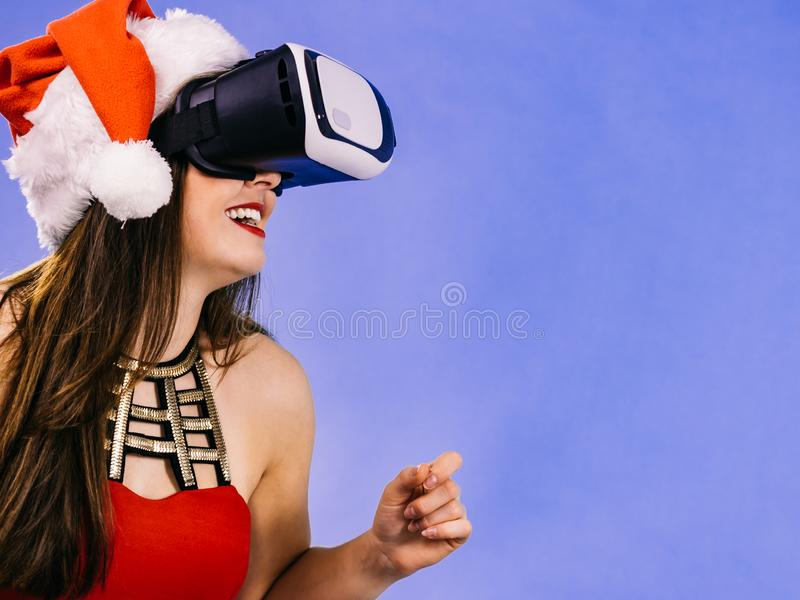 Girl watching 3d film tour in virtual reality glasses stock image