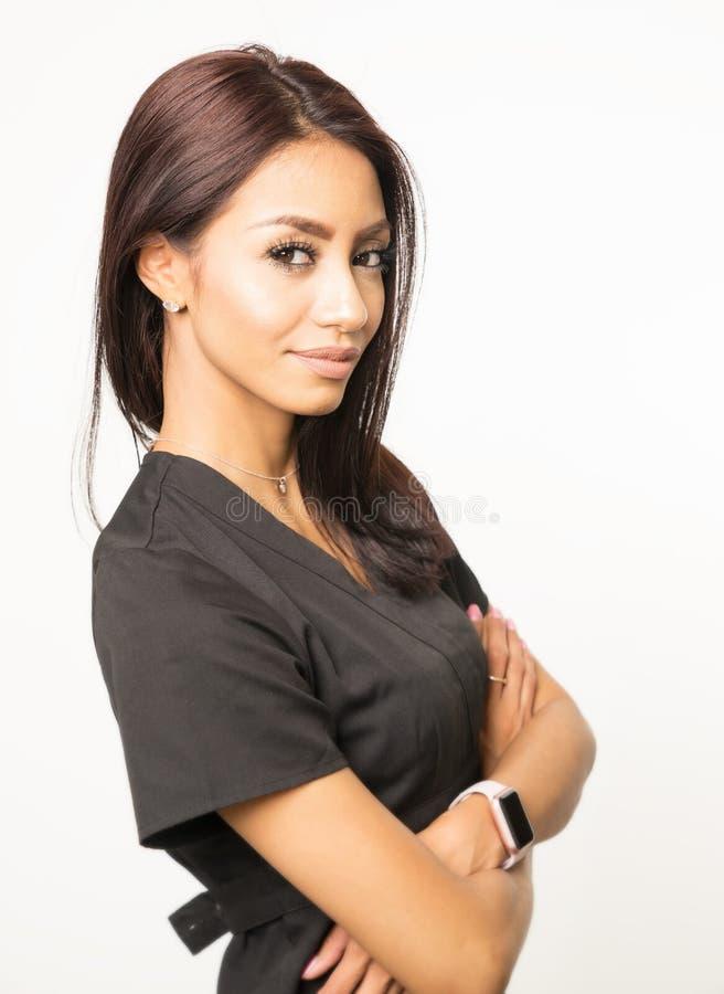 Woman wearing scrubs stock photo