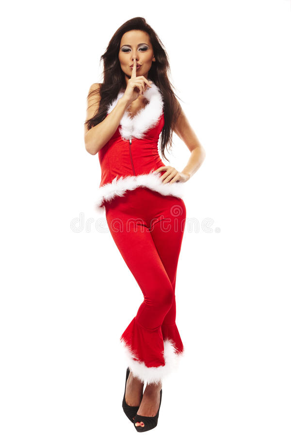 Woman wearing santa claus clothes royalty free stock photography