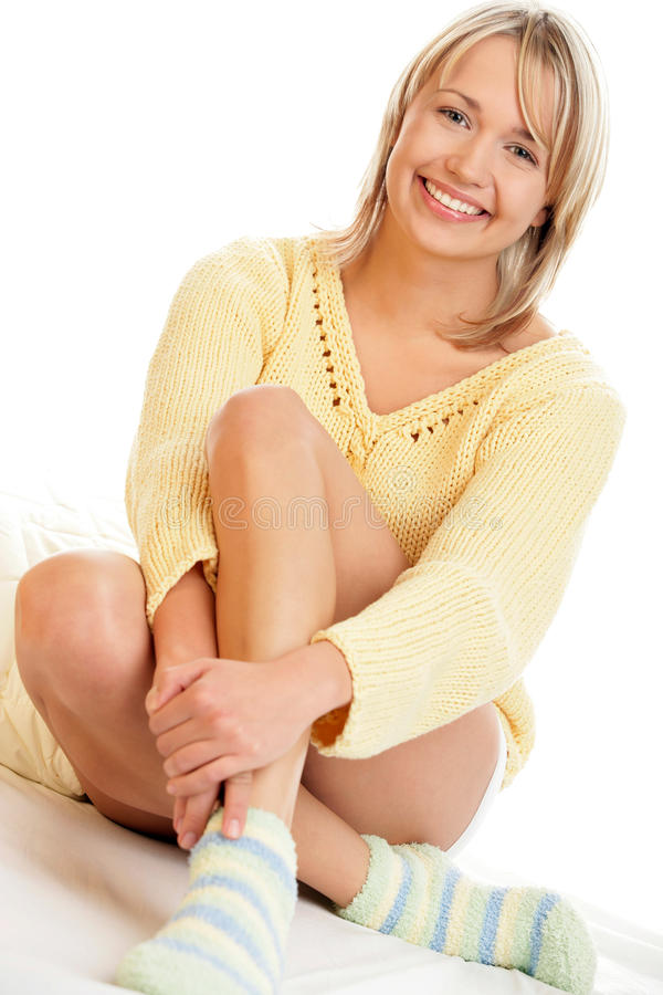 Woman wearing socks royalty free stock images