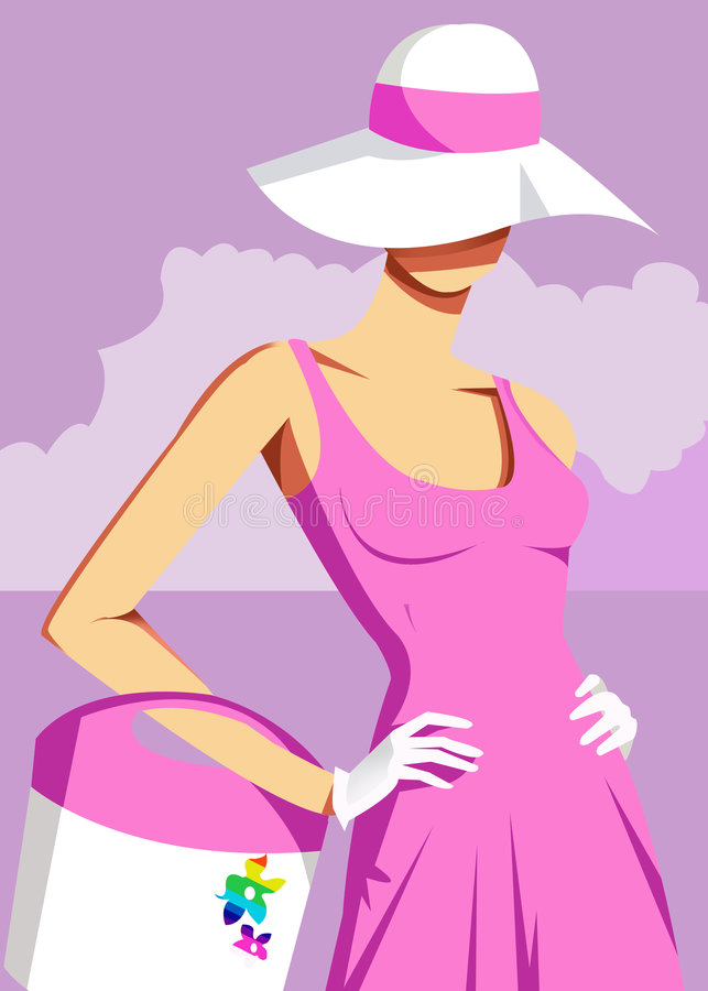 Woman wearing sun hat. Hands on hips royalty free illustration