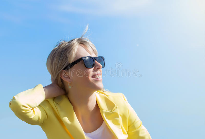 Woman wearing sunglasses royalty free stock photo