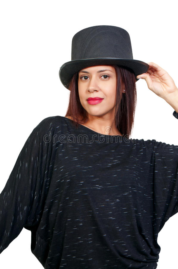 Download Woman Wearing a Top hat stock image. Image of glamour - 18396093
