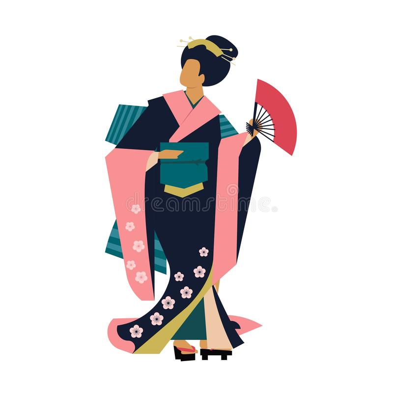 Woman wearing traditional Japanese clothes. Geisha costume kimono. Flower pattern. stock illustration