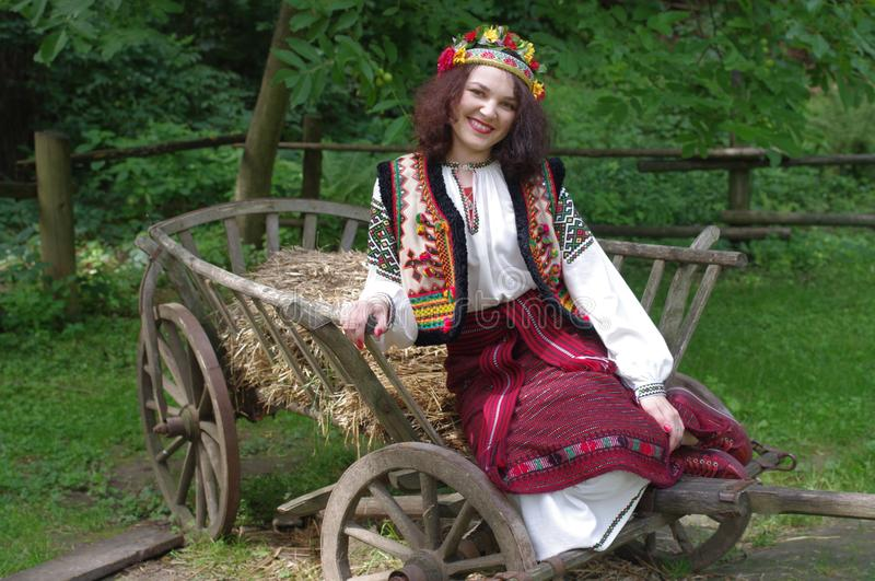 Woman wearing traditional Ukrainian clothing royalty free stock image