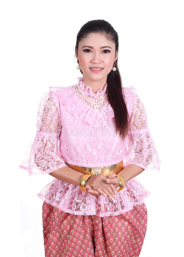 Woman wearing typical thai dress, identity culture of thailand royalty free stock image