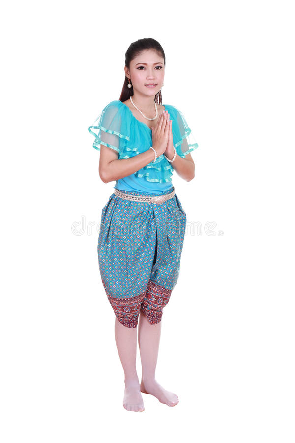 Woman wearing typical thai dress pay respect isolated on white b royalty free stock photos
