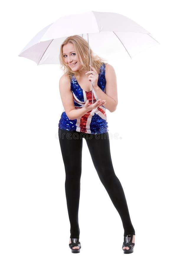 Woman Wearing Union-flag Shirt Royalty Free Stock Photos