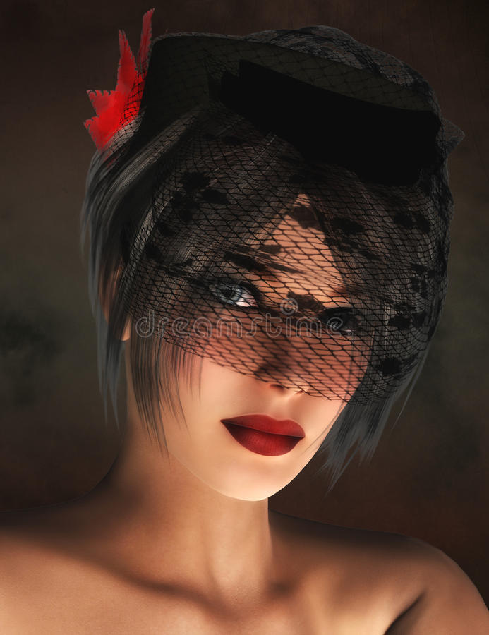 Woman wearing veiled hat royalty free stock photos