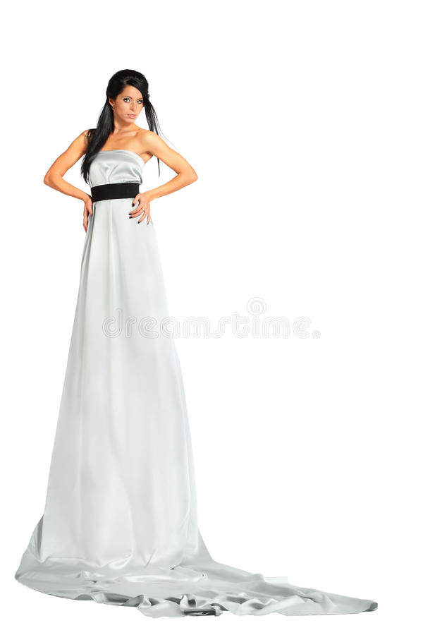 Download Woman Wearing Very Long Silver Dress Stands Stock Photo - Image of head, earring: 22312378