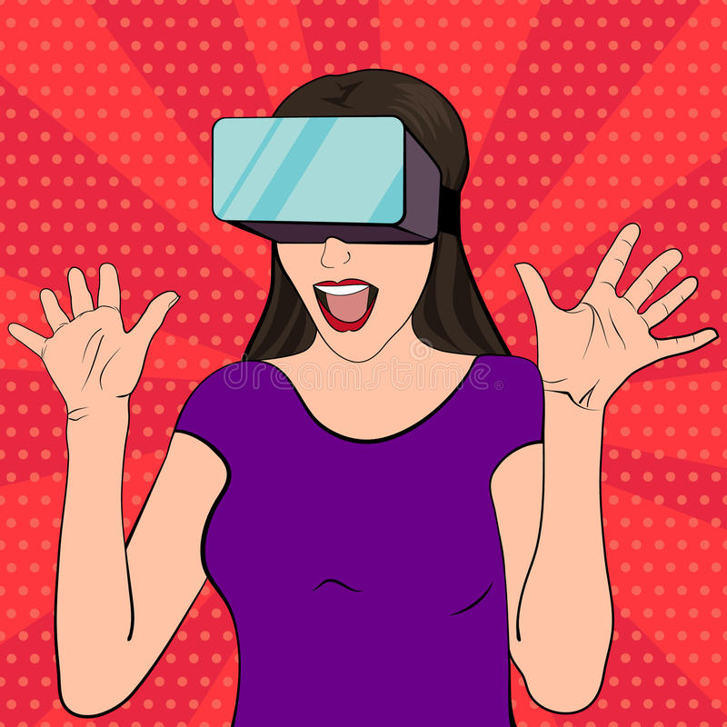 Woman wearing vr glasses stock illustration