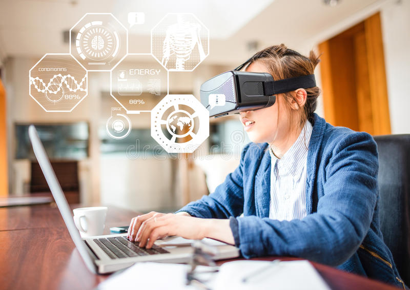 Woman wearing VR Virtual Reality Headset with Health fitness Interface vector illustration