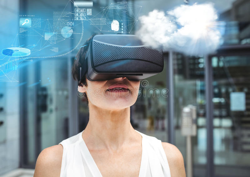 Woman wearing VR Virtual Reality Headset with Interface stock photo