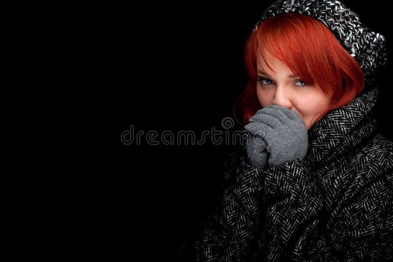 Download Woman Wearing A Warm Winter Hat And Coat Stock Photo - Image of cold, fashion: 17832802