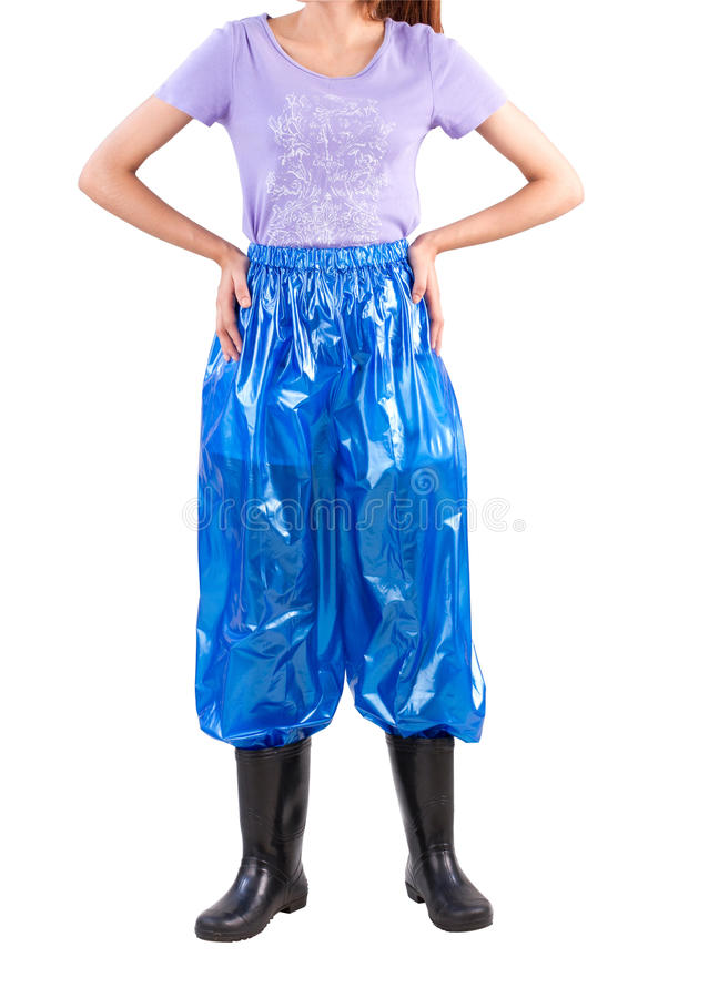 Woman Wearing Wet Protection Plastic Troussers Royalty Free Stock Image