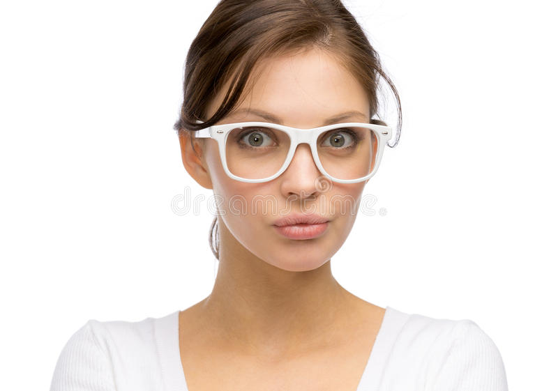 Woman Wearing White Frame Glasses Stock Image - Image of attractive ...