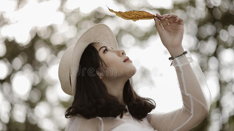 Woman Wearing White Long Sleeve Scoop-neck Top While Holding Brown Leaf Free Public Domain Cc0 Image