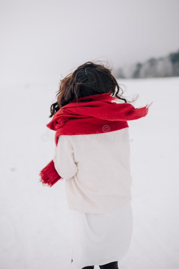 Woman Wearing White Long-sleeved Shirt Standing on Snow stock photography