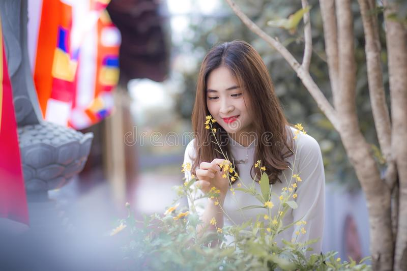 Woman Wearing White Long-sleeved Top Holding the Flower stock photography