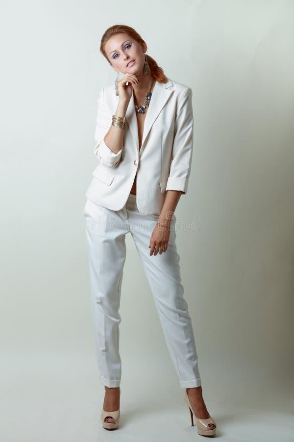 Free Woman Wearing White Suit Stock Image - 26701741