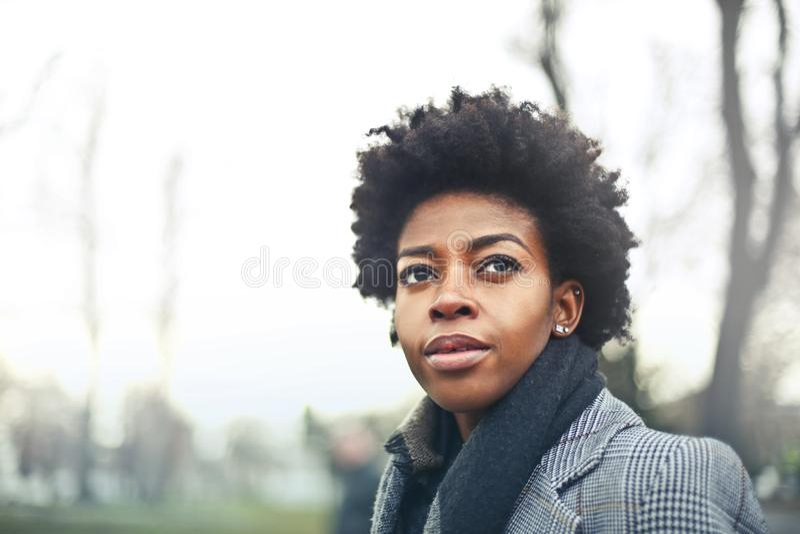Woman Wears Black Suit Jacket Photography stock image