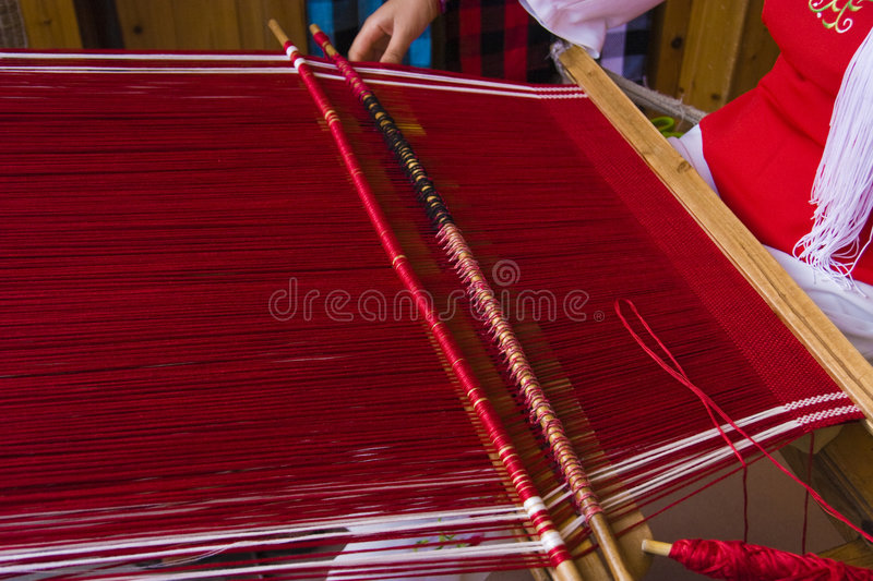 The Woman Of Weaving Stock Photography