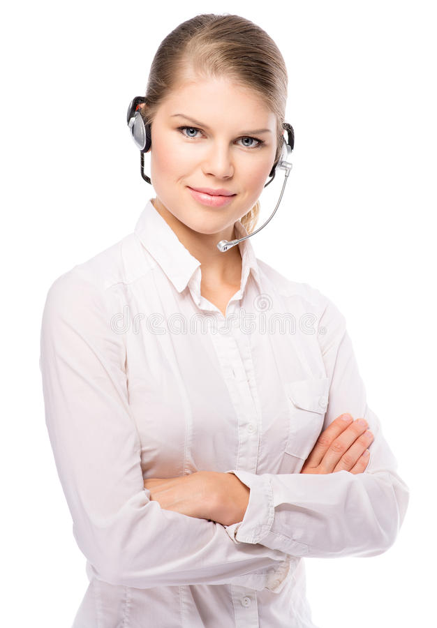 Woman web headset stock images