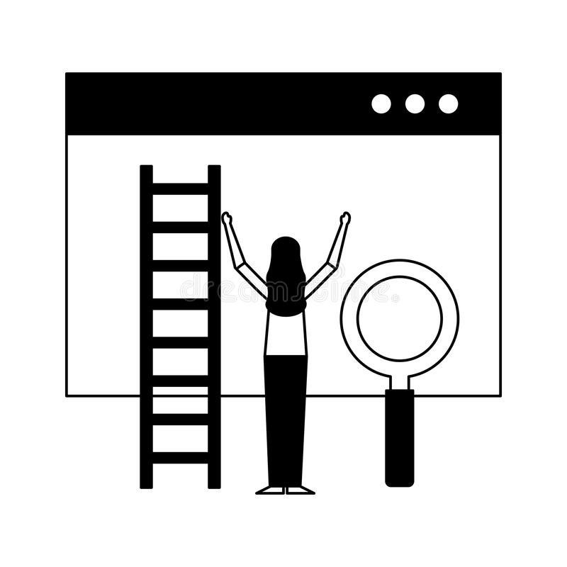 Woman website stairs and magnifying glass royalty free illustration