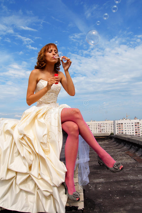 Woman in a wedding dress stock images