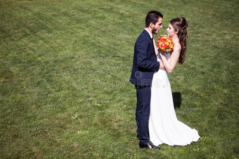 Woman in wedding dress next to her husband on grass stock photography