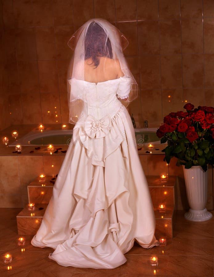 Download Woman In  Wedding Dress Relaxing In Sauna. Stock Photo - Image: 21634410