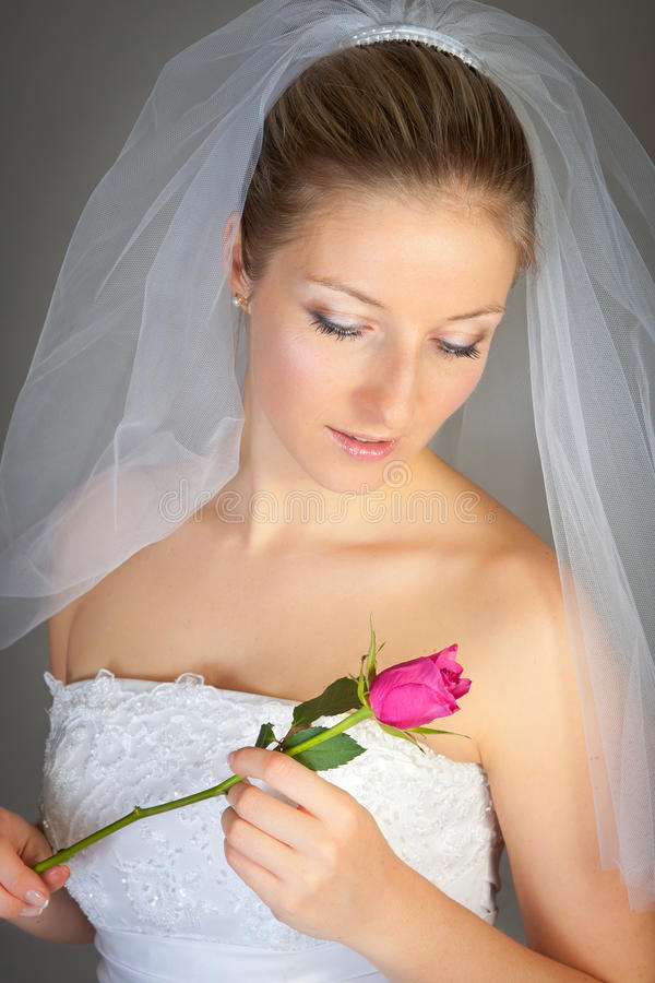 Woman in wedding dress and rose royalty free stock photo