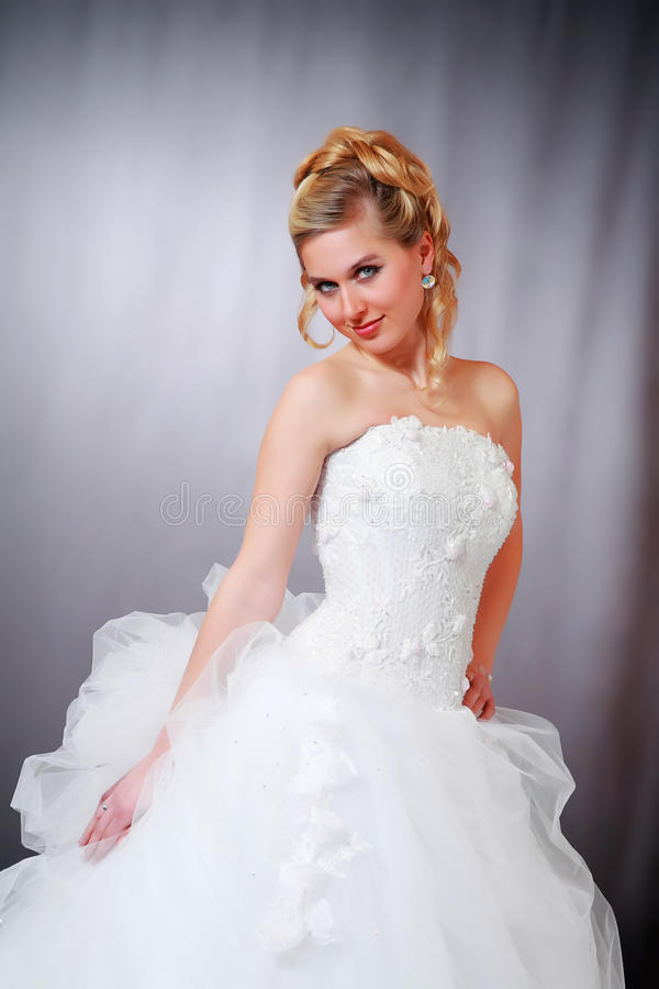 Woman in wedding gown. stock image