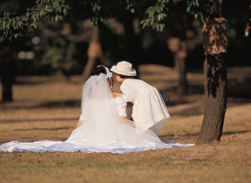 Woman with Weddingdress royalty free stock image