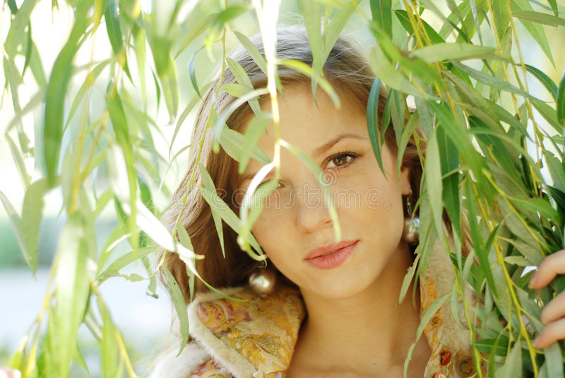 Download Woman and weeping willow stock photo. Image of autumn - 7328462