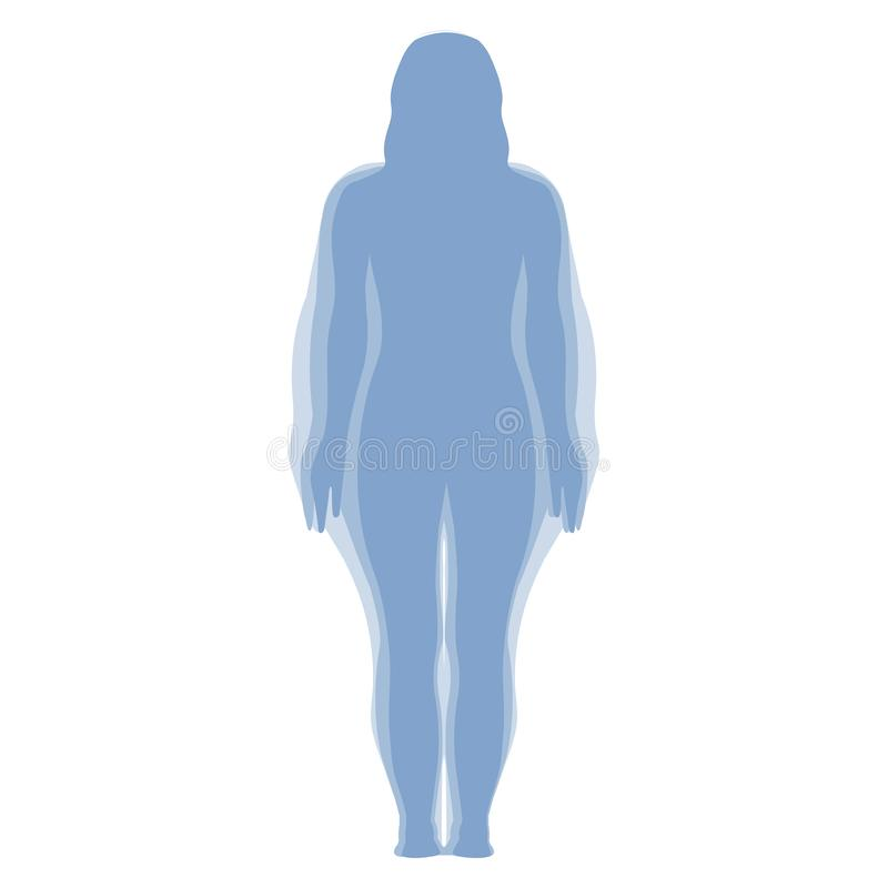 Woman Weight Loss Silhouette Isolated vector illustration