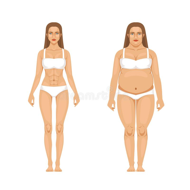 Woman weight loss with sport and diet. Vector illustrations in cartoon style stock illustration