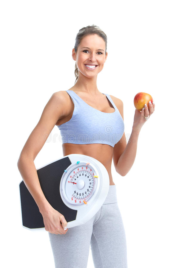 Woman With A Weight Scale Royalty Free Stock Images