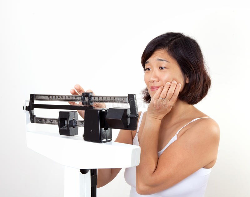 Woman on Weight Scale Dissapointed royalty free stock photography