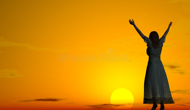 Download Woman Welcoming The Sunrise Stock Illustration - Image: 1419448