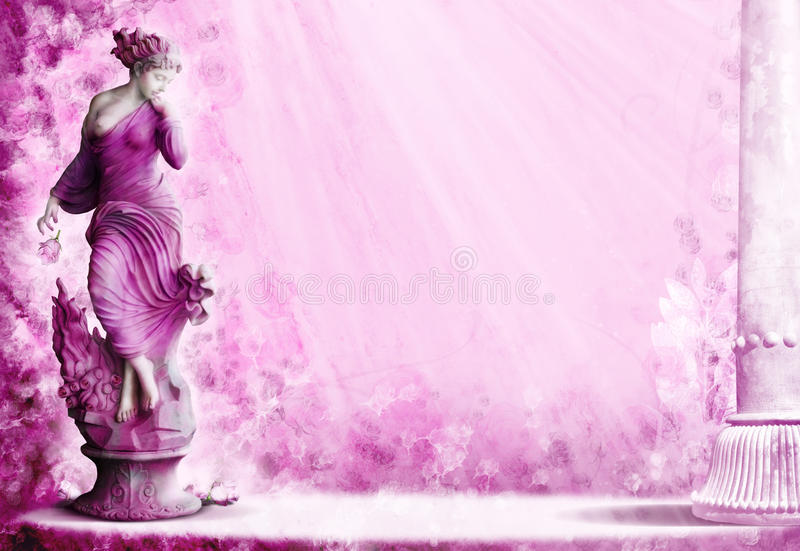 Woman wellness. A female woman statue in a pink garden of roses with a marble pillar. Concept for female health and wellness