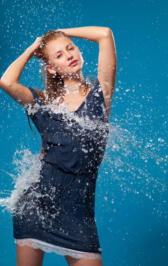 Download Woman in wet clothes stock photo. Image of blue, pretty - 20410880