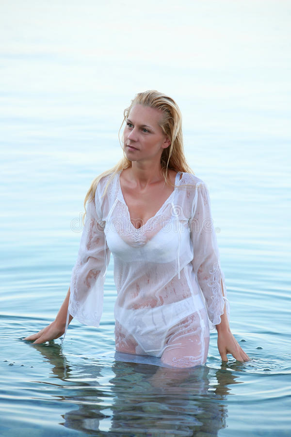 Download Woman in wet shirt stock photo. Image of mermaid, health - 20077202
